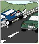 God is My Co-Pilot Car Crash Cartoon