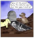 Dogs Digging Up Skeleton Cartoon