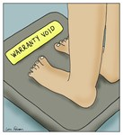 Scale Says Warranty Void Overweight Cartoon