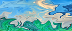 Ocean Meeting Land Liquid Marble Abstract Art