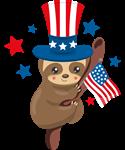 Patriotic Sloth USA