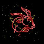 Capricorn Bold Red Zodiac Sign