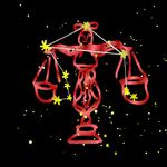Libra Bold Red Zodiac Sign