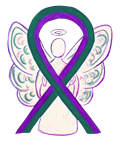 Purple and Green Awareness Ribbon