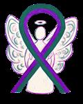 Purple and Green Awareness Ribbon