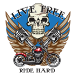 Live Free Ride Hard with Skull and Pistons