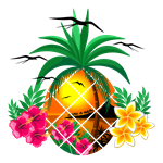 Pineapple Tropical Sunset PalmTree and Flowers