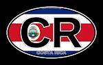Costa Rica Euro Oval (CR) w/flag bg
