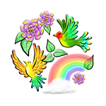 Birds Flowers and Rainbows Doodle