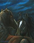 Moonlit Mustangs by Marc Brinkerhoff