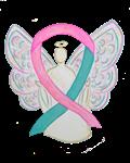Pink and Teal Awareness Ribbon Angel