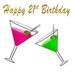 Happy 21st Birthday Martini Glasses