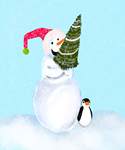 Smiling Snowman With Xmas Tree And Penguin