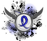 Colon Cancer Blue Ribbon Grunge Wings