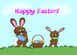 Happy Easter Bunnies With Easter Eggs