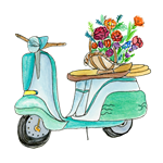 Watercolor Vespa Scooter With Flowers