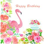 Happy Birthday Watercolor Flamingo And Cake