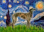 STARRY NIGHT<BR>With a Brindle Greyhound