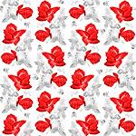 Rose Skulls Red Grey Pattern