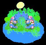 Egyptian Blue Hippos - Love on the Nile