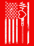 Wear Red In February USA Flag for Heart Disease Aw