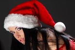 Beautiful Dark Haired Santas Angel Wearing Red W
