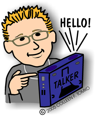boy using talker to say hello