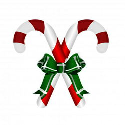 Christmas Candy Cane With Bows Decal Gifts