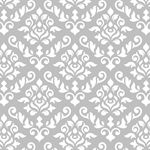 Baroque Damask Grey and White