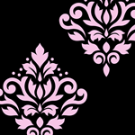 Scroll Damask Black and Pink