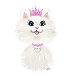 White Cartoon Cat Princess<br>(No background color