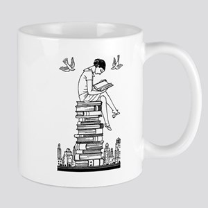 Reading Girl atop books Mug