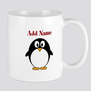 Modern Penguin Add Name Mugs