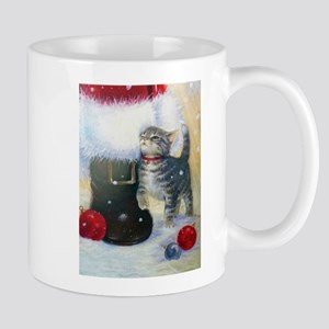 Kitten at Santa's Boot Mugs