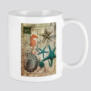 nautical seashells beach starfish Mugs