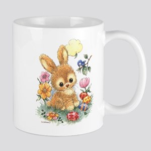 Cute Easter Bunny With Flowers And Eggs Mugs