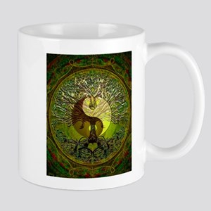 Yin Yang Green Tree of Life Mugs