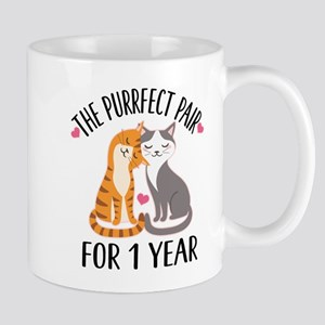 1st Anniversary Cat Couple Mugs