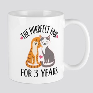 3rd Anniversary Gift Cat Couple Mugs
