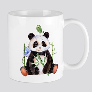 Cute Panda And a Bird Watercolors Mugs