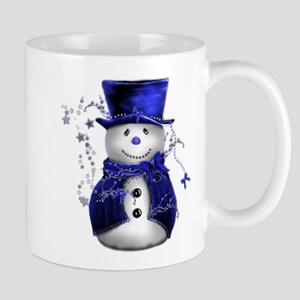 Cute Snowman in Blue Velvet Mug