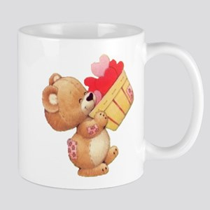 Valentine Bear And A Basket Of Hearts Mugs