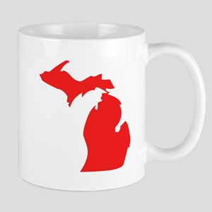 Red Michigan Silhouette Mugs