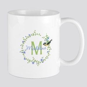 Bird Floral Wreath Monogram Mugs