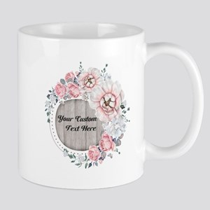 Custom Text Floral Wreath Mugs