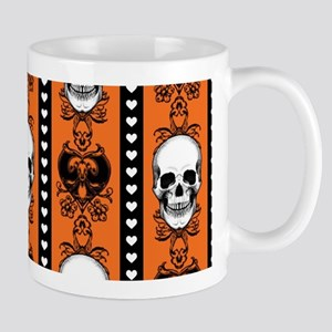 Baroque Skull Stripe Pattern Orange Mugs