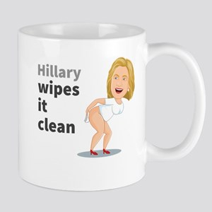 Hillary Wipes It Clean Large Mugs