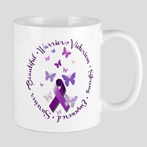 Purple Ribbon with Empowering Words Mug