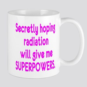 Funny Cancer Radiation Superpowers Pink Mugs