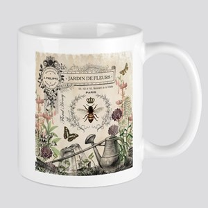 Modern Vintage French Bee Garden Mugs